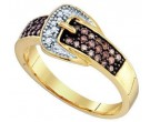 Diamond Buckle Belt Ring 10K Yellow Gold 0.28 cts. GD-72465