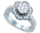 Ladies Diamond Flower Ring 10K White Gold 0.67 cts. GD-72515
