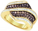 Cognac Brown Diamond Band 10K Yellow Gold 1.60 cts. GD-72875