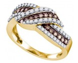Chocolate Brown Diamond Band 10K Yellow Gold 0.75 cts. GD-72931