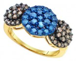 Blue Cognac Diamond Ring 10K Yellow Gold 1.10 cts. GD-72957