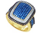 Ladies Blue Diamond Ring 10K Yellow Gold 1.85 cts. GD-72958