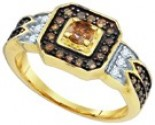 Cognac Brown Diamond Ring 10K Yellow Gold 0.68 cts. GD-73039