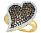 Champagne Diamond Heart Ring 10K Yellow Gold 1.50 cts. GD-73430
