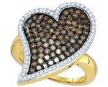Chocolate Diamond Heart Ring 10K Yellow Gold 1.50 cts. GD-73430