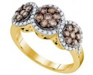 Champagne Diamond Flower Ring 10K Yellow Gold 1.05 cts. GD-73595
