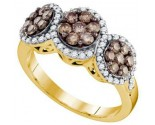 Chocolate Diamond Flower Ring 10K Yellow Gold 1.05 cts. GD-73595