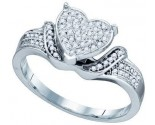 Ladies Diamond Heart Ring 10K White Gold 0.20 cts. GD-74014