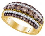 Chocolate Brown Diamond Band 10K Yellow Gold 1.50 cts. GD-74402