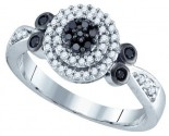 Black Diamond Bridal Ring 10K White Gold 0.34 cts. GD-74929