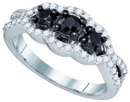 Black Diamond Fashion Ring 10K White Gold 1.03 cts. GD-75077