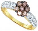 Cognac Brown Diamond Ring 10K Yellow Gold 0.92 cts. GD-75247