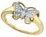 Ladies Diamond Butterfly Ring 10K Yellow Gold 0.07 cts. GD-75826