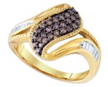 Cognac Brown Diamond Band 10K Yellow Gold 0.46 cts. GD-76063
