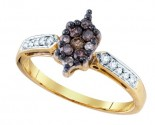 Cognac Brown Diamond Ring 10K Yellow Gold 0.40 cts. GD-76111