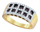 Cognac Brown Diamond Band 10K Yellow Gold 0.81 cts. GD-76030