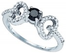 Black Diamond Heart Ring 10K White Gold 0.50 cts. GD-76419