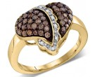 Chocolate Diamond Heart Ring 10K Yellow Gold 0.59 cts. GD-76807