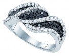 Black Diamond Fashion Ring 10K White Gold 1.03 cts. GD-77075