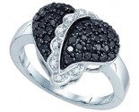 Black Diamond Heart Ring 10K White Gold 0.64 cts. GD-77242