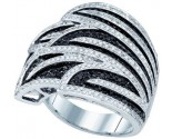 Black Diamond Fashion Ring 10K White Gold 1.38 cts. GD-77343