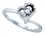 Ladies Diamond Heart Ring 10K White Gold 0.11 cts. GD-77576