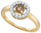 Cognac Brown Diamond Ring 10K Yellow Gold 0.50 cts. GD-77615