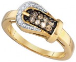 Diamond Buckle Belt Ring 10K Yellow Gold 0.24 cts. GD-77685