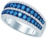 Blue Diamond Fashion Band 10K White Gold 1.10 cts. GD-79090