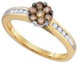 Cognac Brown Diamond Ring 10K Yellow Gold 0.50 cts. GD-79141