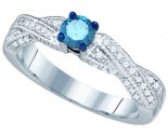 Blue Diamond Fashion Ring 10K White Gold 0.68 cts. GD-79191