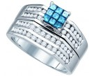 Blue Diamond Bridal Set 10K White Gold 0.88 cts. GD-79250