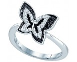 Black Diamond Butterfly Ring 10K White Gold 0.35 cts. GD-80071