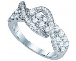 Ladies Diamond Fashion Band 10K White Gold 1.12 cts. GD-80074