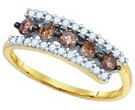 Cognac Brown Diamond Band 10K Yellow Gold 0.62 cts. GD-80088