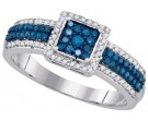 Blue Diamond Fashion Ring 10K White Gold 0.50 cts. GD-80442