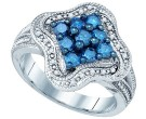 Blue Diamond Fashion Ring 10K White Gold 0.75 cts. GD-80443