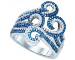 Blue Diamond Fashion Ring 10K White Gold 0.77 cts. GD-80446