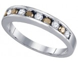 Chocolate Brown Diamond Band 10K White Gold 0.24 cts. GD-80983