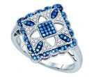 Blue Diamond Fashion Ring 10K White Gold 0.25 cts. GD-81422