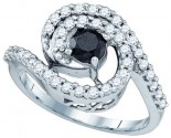 Black Diamond Fashion Ring 10K White Gold 1.04 cts. GD-81463