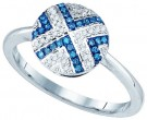 Blue Diamond Fashion Ring 10K White Gold 0.15 cts. GD-81482