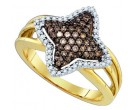 Chocolate Brown Diamond Ring 10K Yellow Gold 0.42 cts. GD-81621
