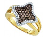 Champagne Brown Diamond Ring 10K Yellow Gold 0.42 cts. GD-81621