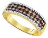 Cognac Brown Diamond Band 14K Yellow Gold 0.81 cts. GD-81634
