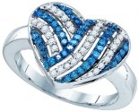Ladies Diamond Heart Ring 10K White Gold 0.50 cts. GD-81971