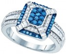 Blue Diamond Fashion Ring 10K White Gold 0.81 cts. GD-81983