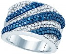 Blue Diamond Fashion Band 10K White Gold 2.05 cts. GD-81986
