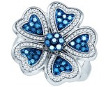 Blue Diamond Flower Ring 10K White Gold 0.95 cts. GD-82025