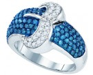 Blue Diamond Fashion Band 10K White Gold 1.40 cts. GD-82034